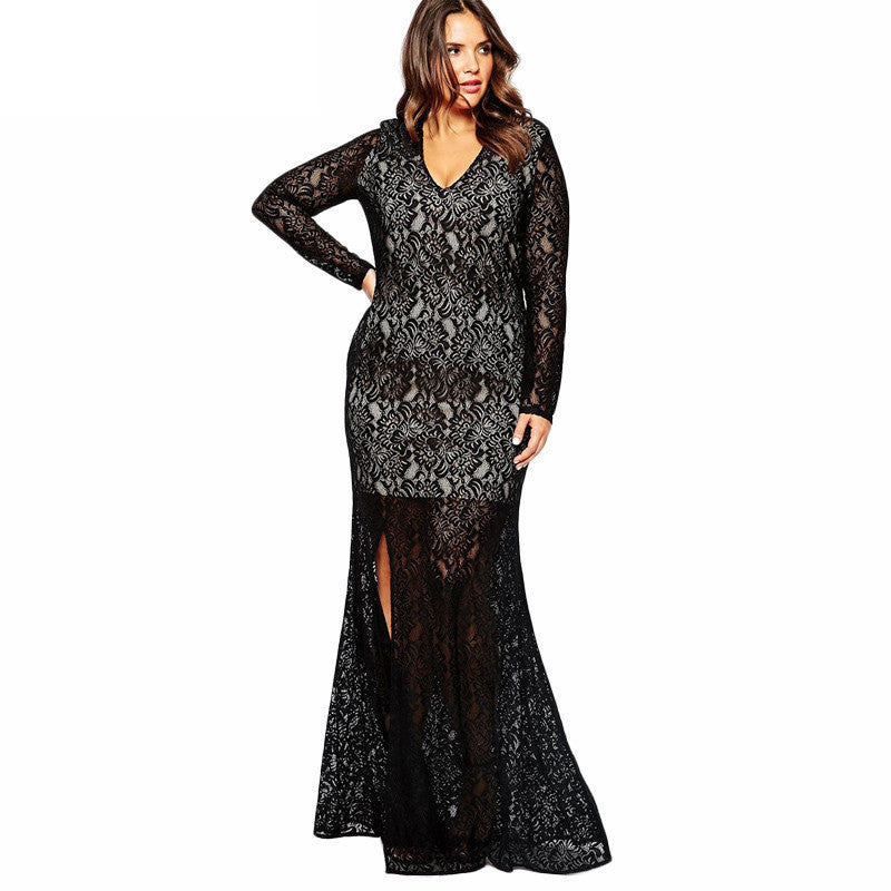 Sexy Elegant Lace Split Long Evening Party Dress - Oh Yours Fashion - 2