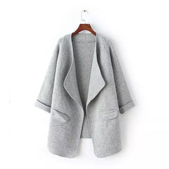 Irregular Lapel Pocket Loose Knitted Cardigan - O Yours Fashion - 5
