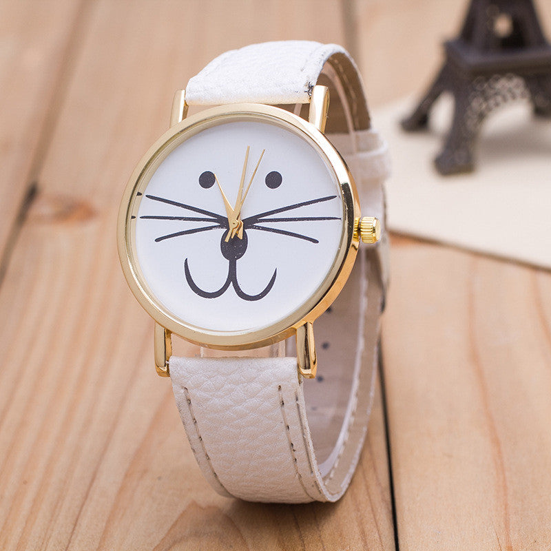 Cute Kitty Face Leather Watch - Oh Yours Fashion - 2