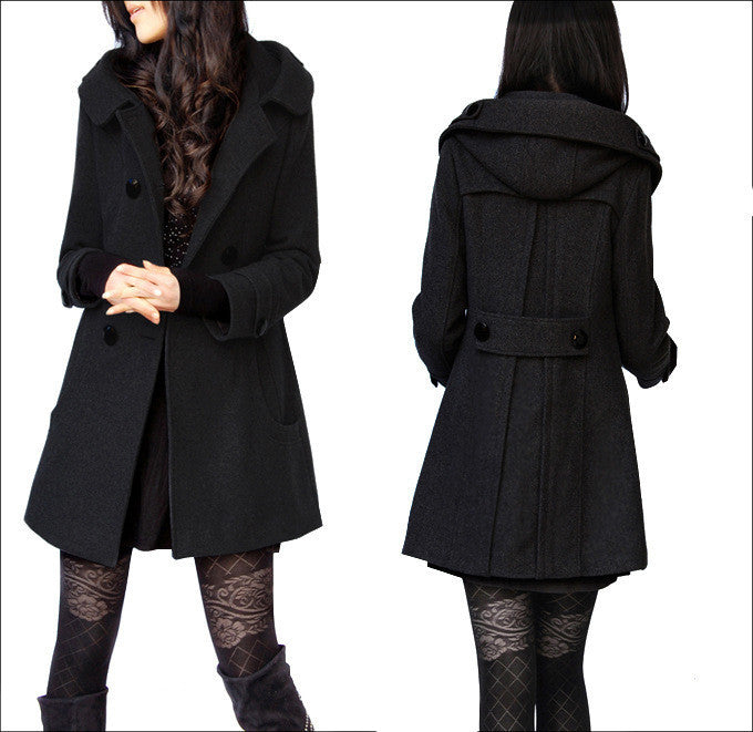 Woolen Double Button Hooded Slim Long Coats - Oh Yours Fashion - 1