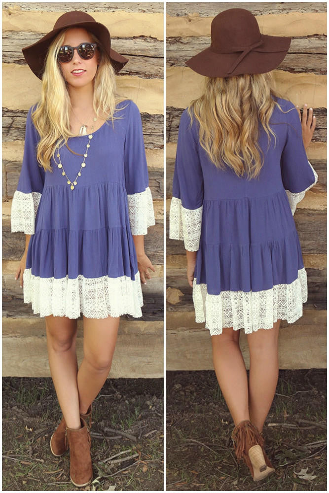 3/4 Sleeves Solid Color Scoop Lace Splicing Short Dress - Oh Yours Fashion - 4