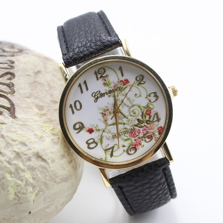 Classic Flower Print Leather Watch - Oh Yours Fashion - 5