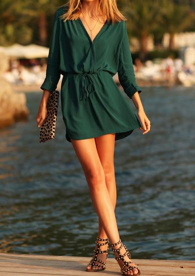 Fashion V-neck Long Sleeves Patchwork A-line Short Dress - Meet Yours Fashion - 3