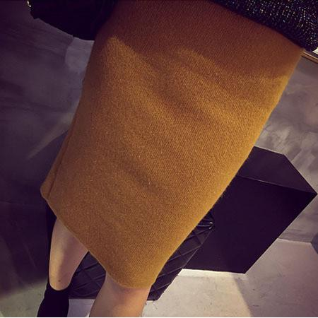 High Waist Knit Split Knee-Length Slim Skirt