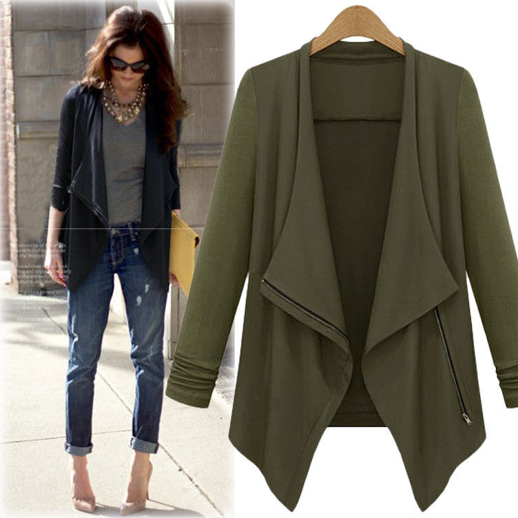 Casual Lapel Long Sleeves Irregular Plus Size Short Coat - Oh Yours Fashion - 1
