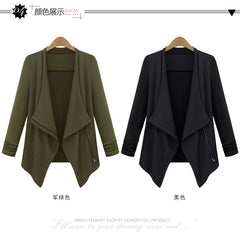 Casual Lapel Long Sleeves Irregular Plus Size Short Coat - Oh Yours Fashion - 5