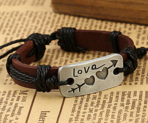 Arrow Through Heart LOVE Leather Bracelet - Oh Yours Fashion - 1