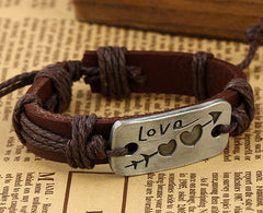 Arrow Through Heart LOVE Leather Bracelet - Oh Yours Fashion - 2