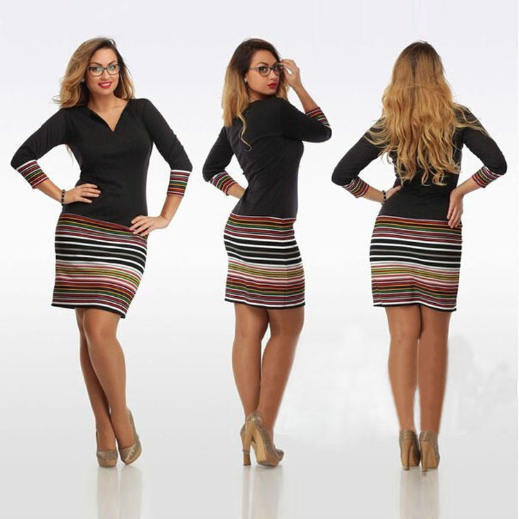 Black Stripe Print Long Sleeve V Neck Short Bodycon Dress - Oh Yours Fashion - 1