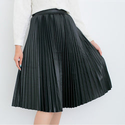Retro PU High Waist Pleated Knee-Length Skirt - Oh Yours Fashion - 2