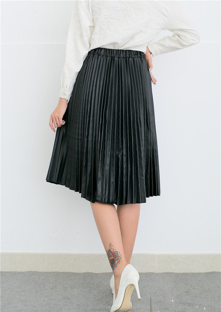 Retro PU High Waist Pleated Knee-Length Skirt - Oh Yours Fashion - 5