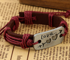 Arrow Through Heart LOVE Leather Bracelet - Oh Yours Fashion - 4