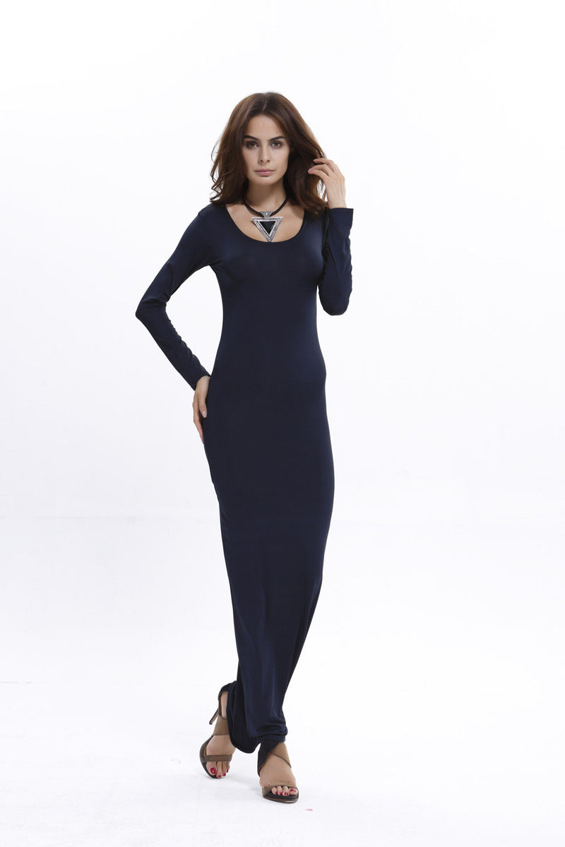 Elegant Pure Color Long Sleeve Scoop Bodycon Long Dress - Oh Yours Fashion - 8