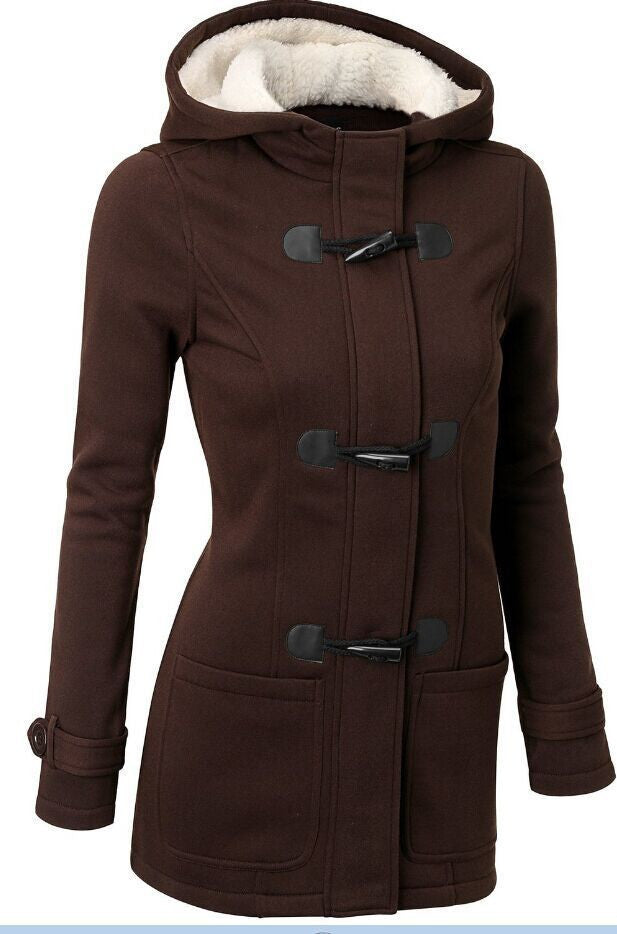 Pocket Flocking Long Women Hooded Coat - Oh Yours Fashion - 5