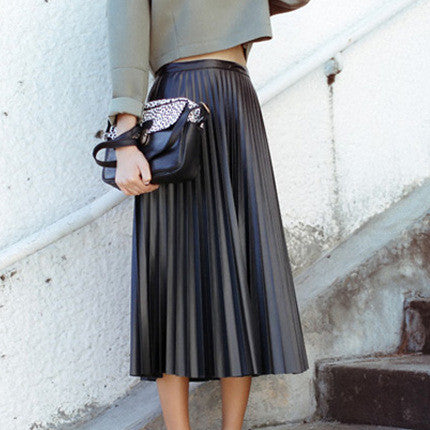 Retro PU High Waist Pleated Knee-Length Skirt - Oh Yours Fashion - 4