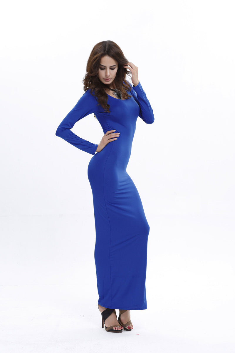 Elegant Pure Color Long Sleeve Scoop Bodycon Long Dress - Oh Yours Fashion - 5