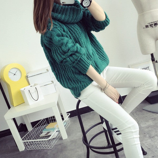 Fashion Turtle Neck Pullover Twist Knitting Sweater - Oh Yours Fashion - 7