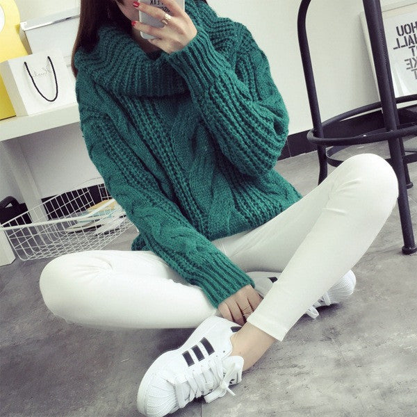 Fashion Turtle Neck Pullover Twist Knitting Sweater - Oh Yours Fashion - 3