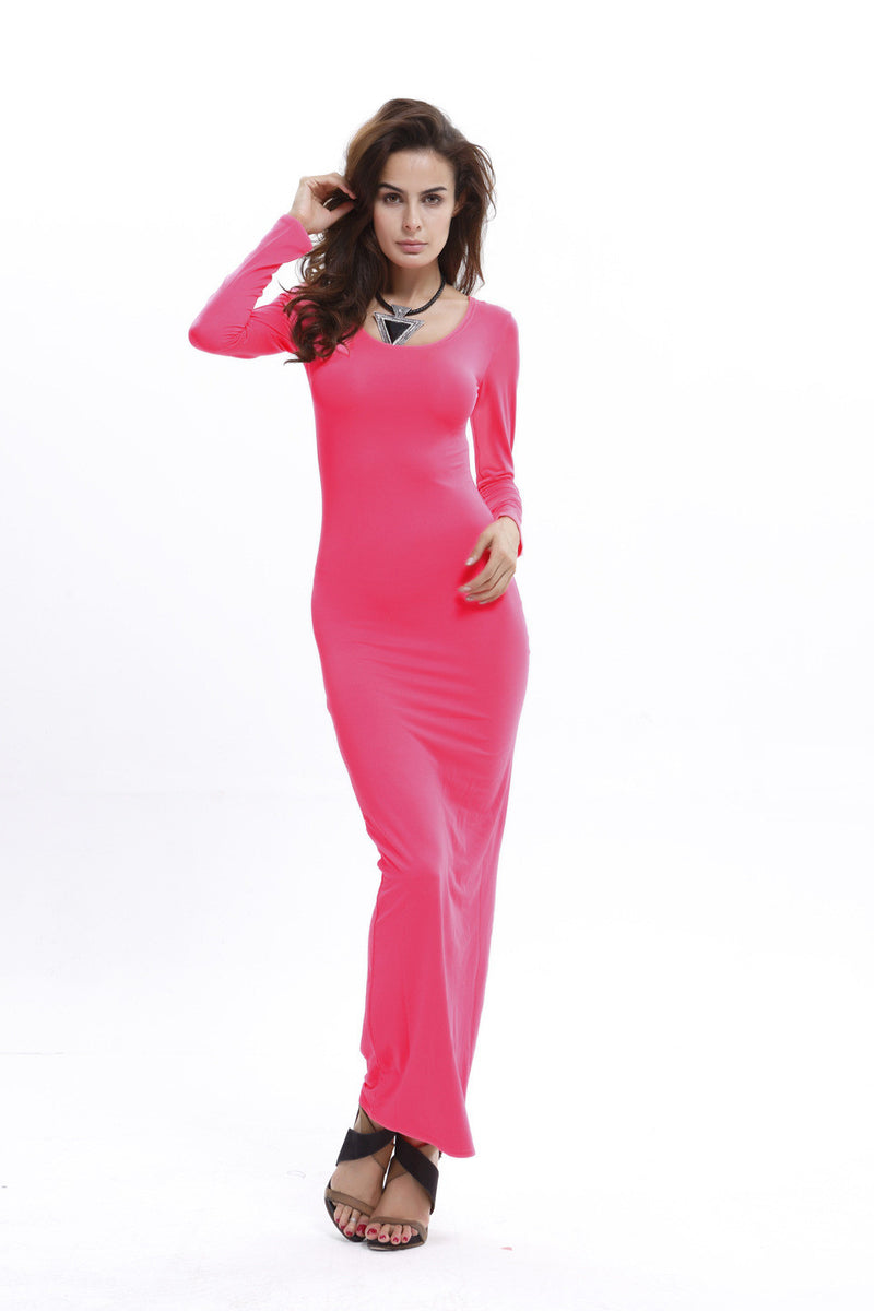 Elegant Pure Color Long Sleeve Scoop Bodycon Long Dress - Oh Yours Fashion - 6