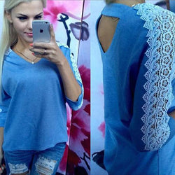 Hollow Out Lace Patchwork Scoop 3/4 Sleeves Loose Blouse
