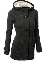Pocket Flocking Long Women Hooded Coat - Oh Yours Fashion - 3