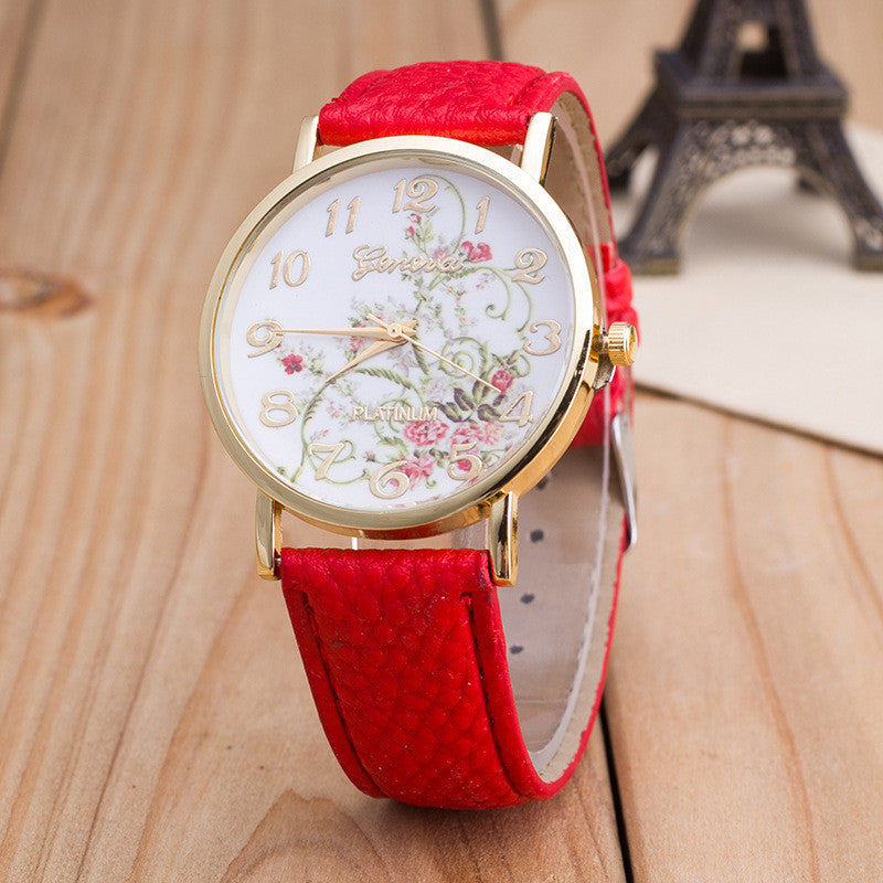 Korea Style Floral Print Watch - Oh Yours Fashion - 3