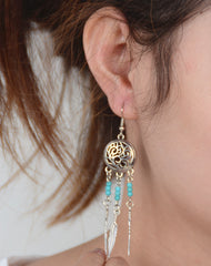 Hollow Out Totem Metal Feathers Tassel Earrings - Oh Yours Fashion - 3