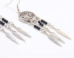 Hollow Out Totem Metal Feathers Tassel Earrings - Oh Yours Fashion - 6