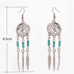 Hollow Out Totem Metal Feathers Tassel Earrings - Oh Yours Fashion - 5