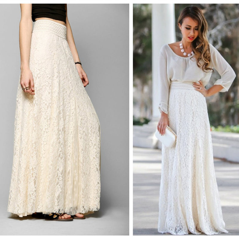 High Waist Hollow Out Lace Slim Full Skirt - Oh Yours Fashion - 3