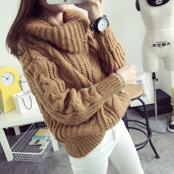 Fashion Turtle Neck Pullover Twist Knitting Sweater - Oh Yours Fashion - 1