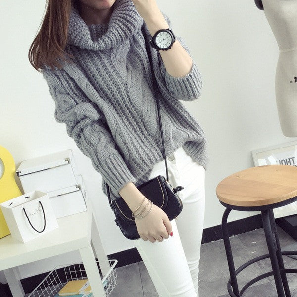 Fashion Turtle Neck Pullover Twist Knitting Sweater - Oh Yours Fashion - 6