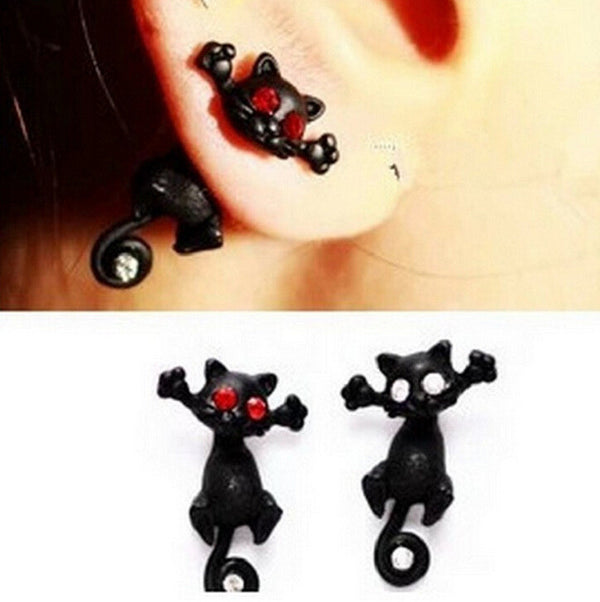 Cute Crystal Black Cat Through Earring - Oh Yours Fashion - 1