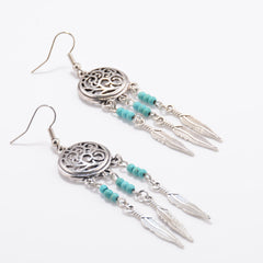 Hollow Out Totem Metal Feathers Tassel Earrings - Oh Yours Fashion - 2
