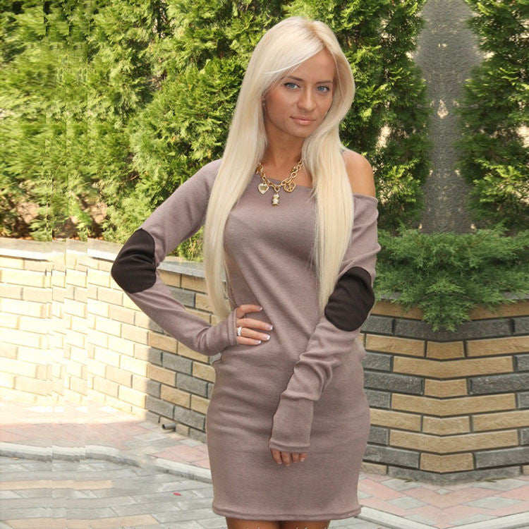 Pure Color Patchwork O-neck Long Sleeve Short Dress - Oh Yours Fashion - 4