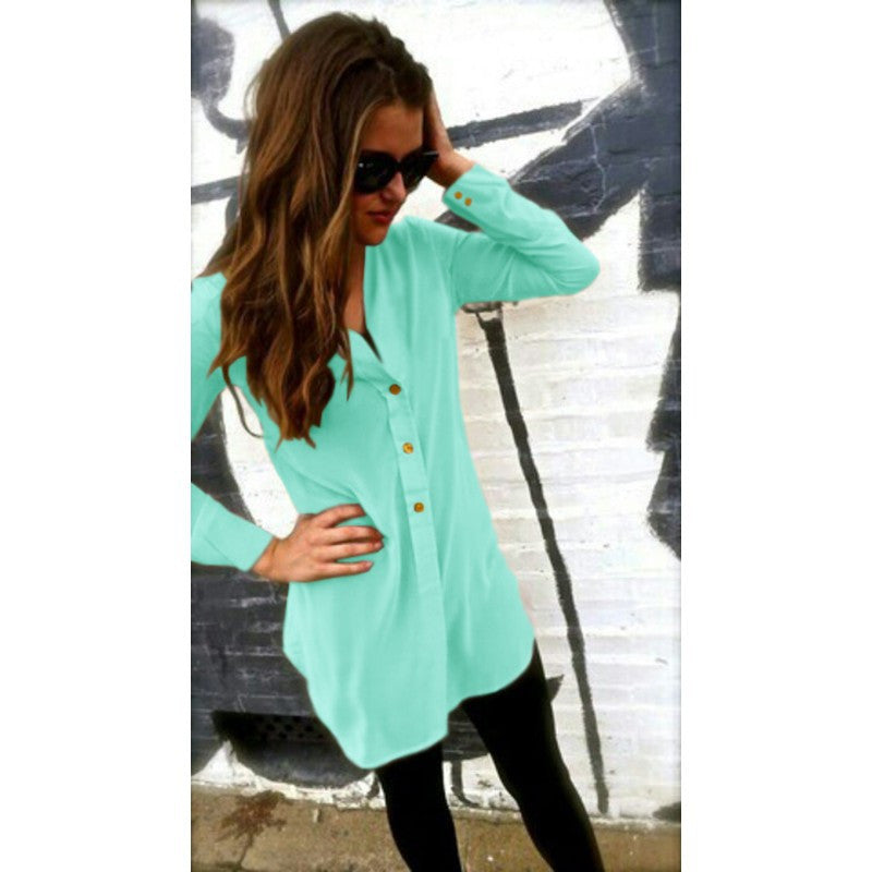 V-neck Pure Color Long Sleeves Long Chiffon Blouse - Oh Yours Fashion - 6