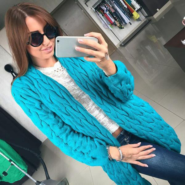 Cable Cardigan Long Knit Loose Solid Thick Sweater - Oh Yours Fashion - 4