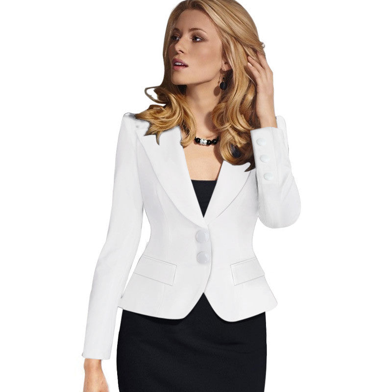 Slim Double Button Deep V-neck Turn-down Collar Short Blazer - Oh Yours Fashion - 4