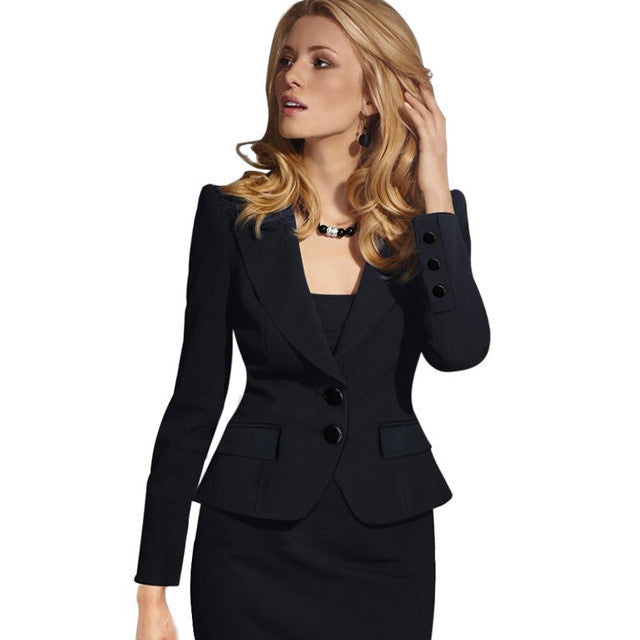 Slim Double Button Deep V-neck Turn-down Collar Short Blazer - Oh Yours Fashion - 5