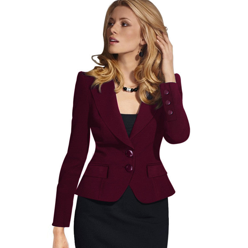 Slim Double Button Deep V-neck Turn-down Collar Short Blazer - Oh Yours Fashion - 2