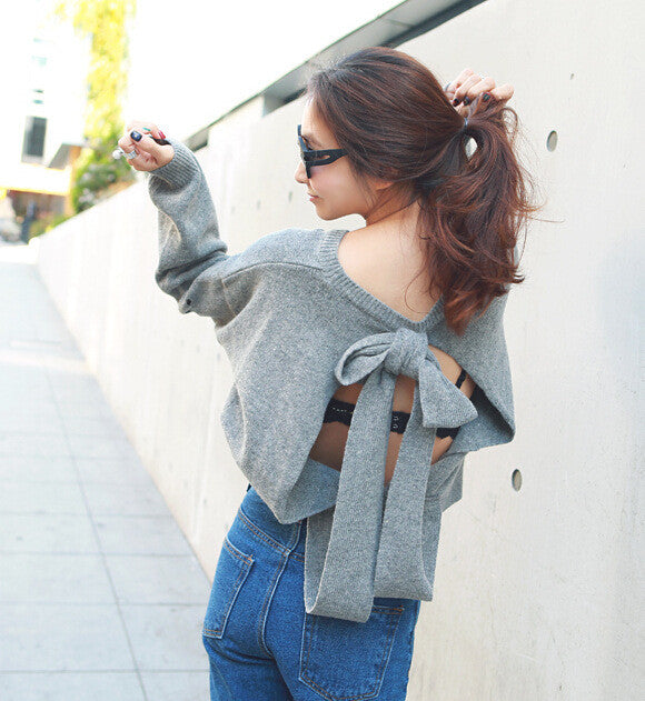 Backless Bow Tie Hollow Knit Pullover Sweater - Oh Yours Fashion - 3