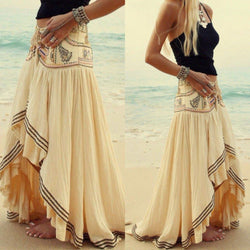 Bohemian Print Elastic Waist Irregular Long Beach Skirt - Oh Yours Fashion - 2