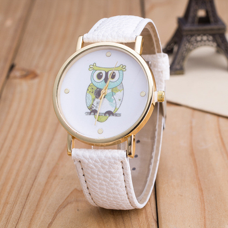Owl Print PU Strap Watch - Oh Yours Fashion - 1