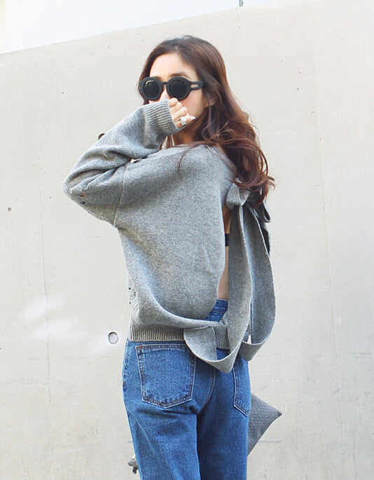 Backless Bow Tie Hollow Knit Pullover Sweater - Oh Yours Fashion - 2