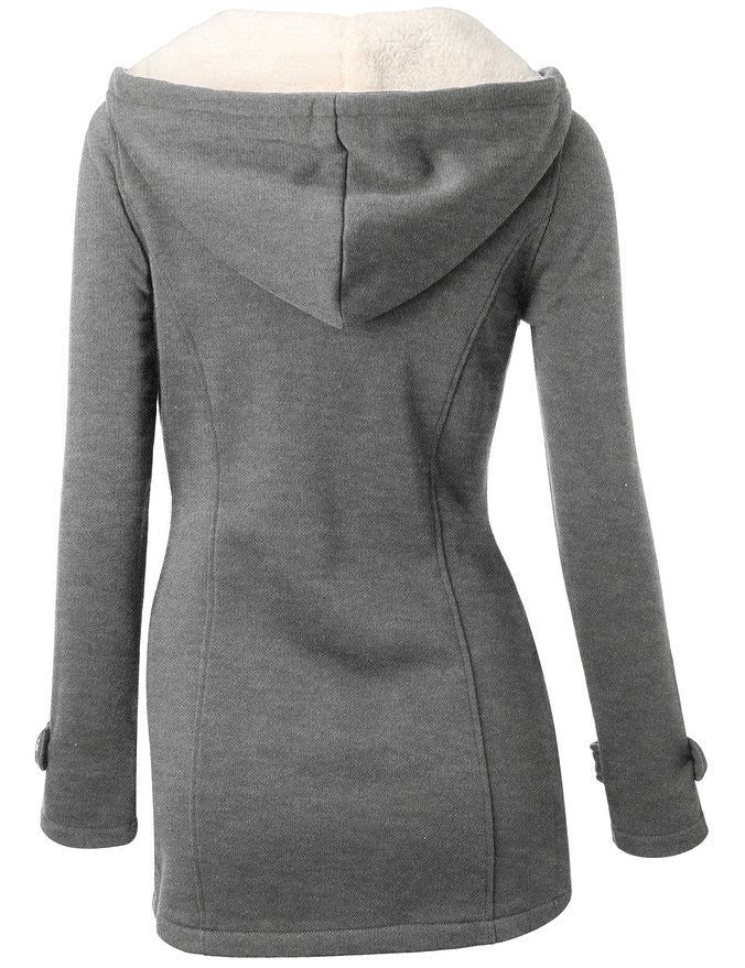 Pocket Flocking Long Women Hooded Coat - Oh Yours Fashion - 2