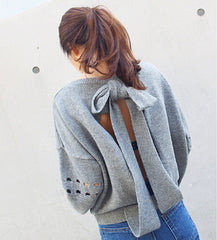 Backless Bow Tie Hollow Knit Pullover Sweater - Oh Yours Fashion - 1