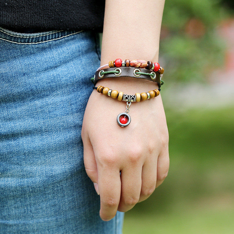 Simple Fashion Beaded Leather Bracelet - Oh Yours Fashion - 1