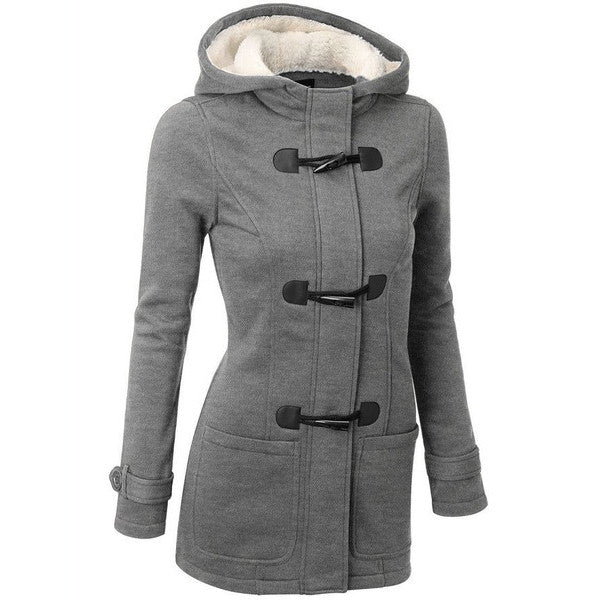 Pocket Flocking Long Women Hooded Coat - Oh Yours Fashion - 1