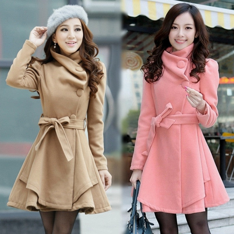 Stand Collar Belt Solid Cope Long Slim Coat - Oh Yours Fashion - 1