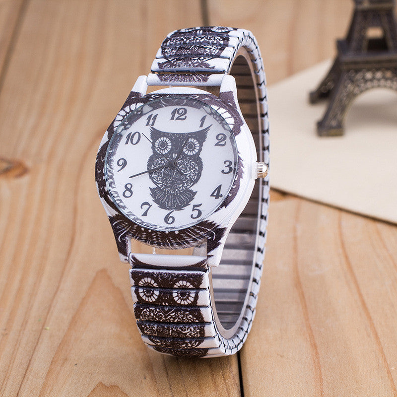 Owl Print White Alloy Watch - Oh Yours Fashion